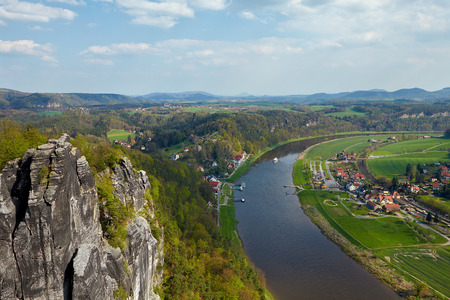 saxon: Panoramic view to Saxon Switzerland from Bastei near Dresden Germany.