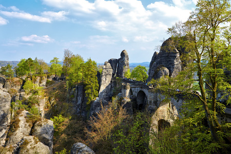 saxon: Bridge named Bastei in Saxon, Switzerland Stock Photo