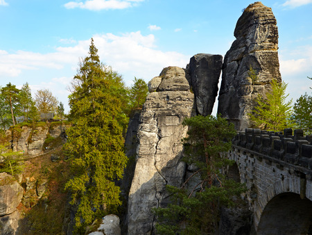 saxon: Bridge named Bastei in Saxon Switzerland Germany Stock Photo