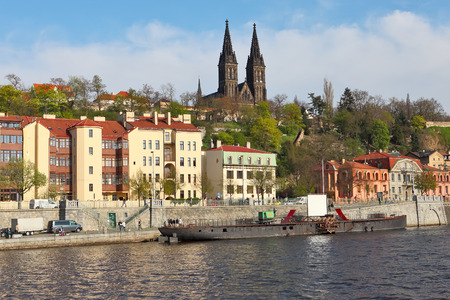 visegrad: Prague Czech Republic  April 22 2015: Vysehrad and the Vltava embankment. Vysehrad is a historical fort located in the city of Prague Czech Republic. Editorial