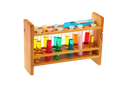 stinks: Colorful test tubes in a old fashioned wooden rack isolated over a white background