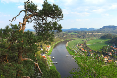 saxon: Panoramic view to Saxon Switzerland from Bastei, near Dresden, Germany.