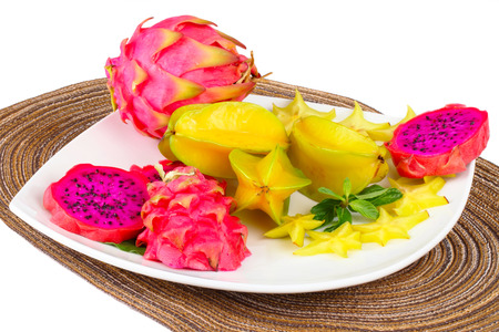 afters: Exotic Fruit Dish with pitahaya and carambola Stock Photo