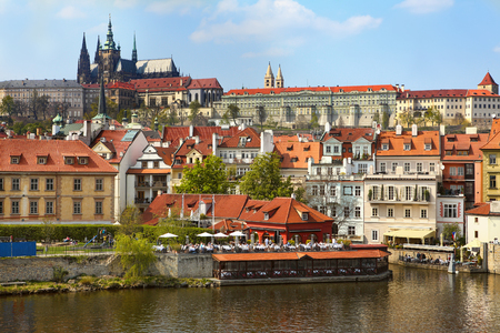 right bank: View from the right bank of the river Vltava in Prague, Czech Republic. Editorial