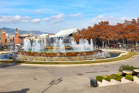 espanya: Fountain of Montjuic and Plaza de Espanya. Barcelona-Catalonia,Spain Stock Photo