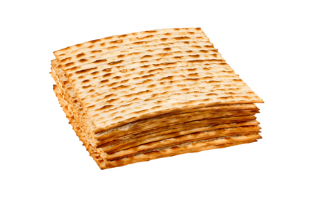 matzo: Matzo for pesach pile isolated on white background Stock Photo