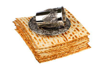 matzo: passover matzo and wine cup isolated on white background Stock Photo