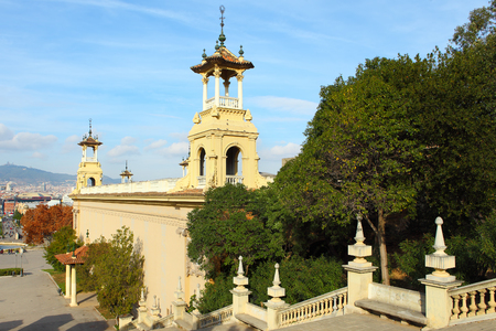 barsa: Plaza de Espanya in Barcelona, Spain.View from top of the stairs of National Museum Editorial