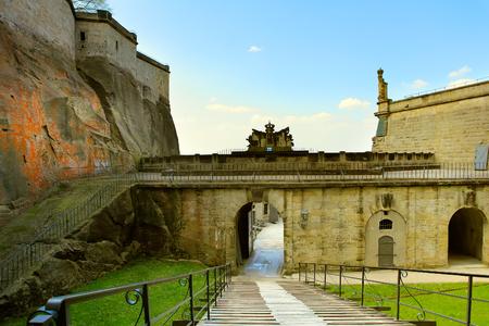 rampart: The rampart of the Koeningstein fortress  near Dresden, in Saxon Switzerland, Germany Editorial