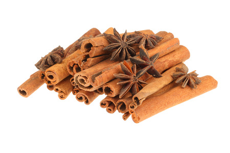 spice isolated: Cinnamon sticks and star anise spice isolated on white background