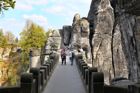 saxon: SAXON SWITZERLAND, GERMANY - April 24, 2015: Bastei bridge, Saxon Switzerland National Park, Germany