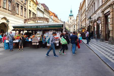 continuously: Prague, Czech Republic - April 25, 2015: Exterior views of the famous Havelske Trziste - Havels Market. Market has been continuously open since 1232.