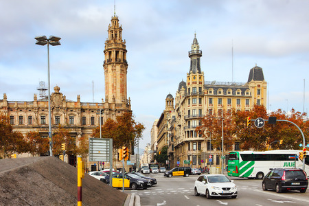 colom: BARCELONA, SPAIN - december 12, 2015: Passeig de Colom, city center on December 12, 2015, in Barcelona, Spain. One of the main touristic places in the City, which every Tourist passes on the way to the Beach