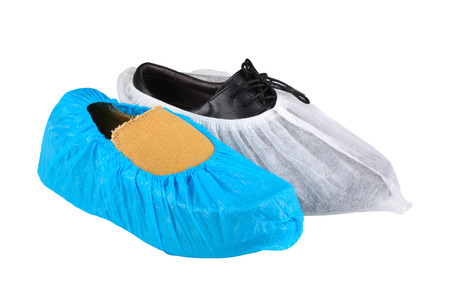 moccasin: mens shoe in overshoes isolated on white background Stock Photo