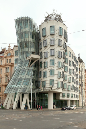 dancing house: Prague, Czech Republic - April 25, 2015: Dancing House also called Fred and Ginger was designed 1992 by Vlado Milunic and Frank Gehry and completed 1996 on a vacant riverfront plot by Vltava river