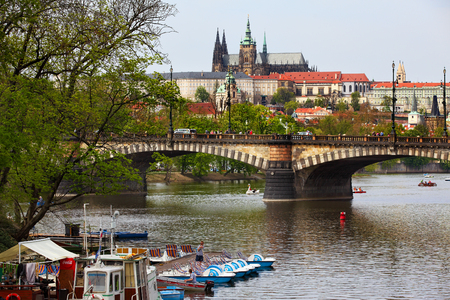 legion: Prague, Czech Republic - April 25, 2015: View of the Vltava river with many leisure pedal boats from the Legion Bridge. Editorial