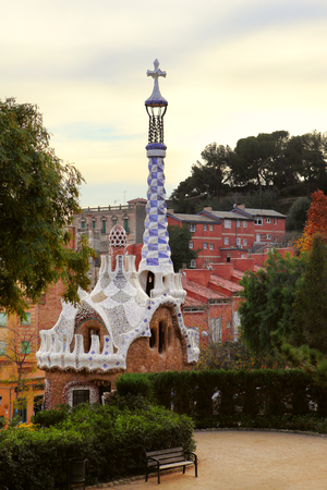 Barcelona. Park Guell Gingerbread House of Gaudi modernism fairy tale
