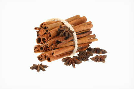 Cinnamon sticks and star anise spice isolated on white background