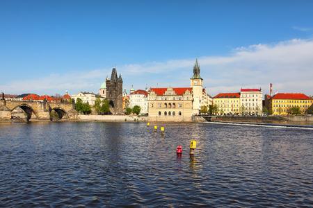 vltava: The Old Town with Charles Bridge over Vltava river in Prague, Czech Republic. Stock Photo