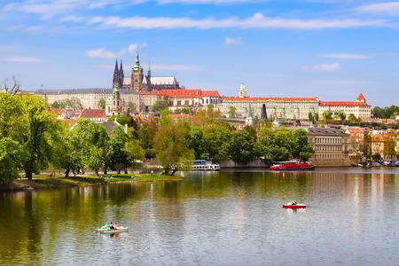 View of Charles Bridge and Prague Castle from the river Vltava, Czech Republic