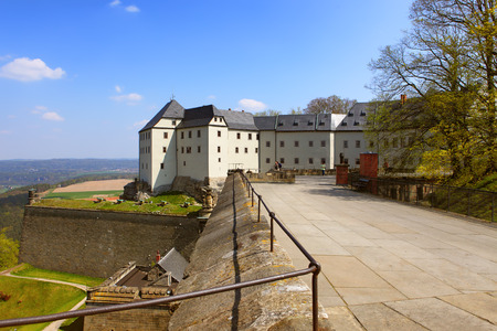 The fortress of Koenigstein and its environment near Dresden, in Saxon Switzerland, Germany Editorial