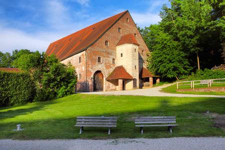 landshut: A construction adjascent to medieval castle Trausnitz, Landshut Bavaria Germany