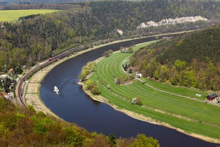 saxony: Elbe river from konigstein fortress, Saxony (Germany) Stock Photo