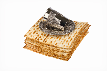 passover matzo and wine cup isolated  on white background