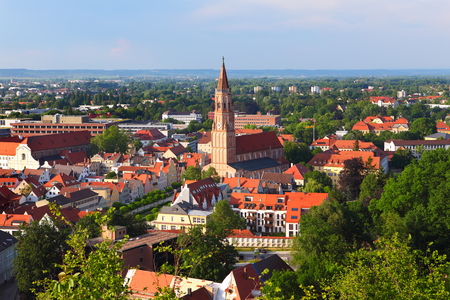 landshut: Panoramic view over the historic city of Landshut, Bavaria, Germany, from the castle hill.