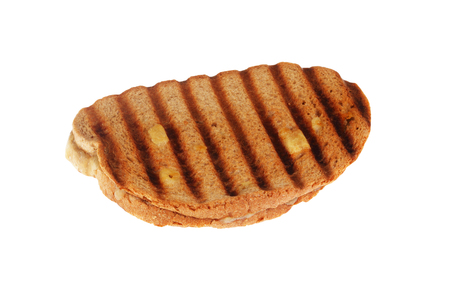 Sandwich toast grilled with cheese on white background