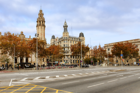 colom: BARCELONA, SPAIN - december 12, 2015: Passeig de Colom, city center .Barcelona, Spain. One of the main touristic places in the City, which every Tourist passes on the way to the Beach Editorial