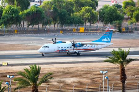 eilat: Eilat, Israel - August, 03, 2016: Arkia - Israeli Airlines ATR 72-500 landed at the airport of Eilat