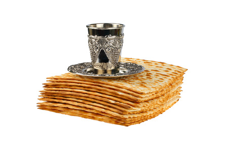 passover matzo and wine cup isolated on white background Stock Photo