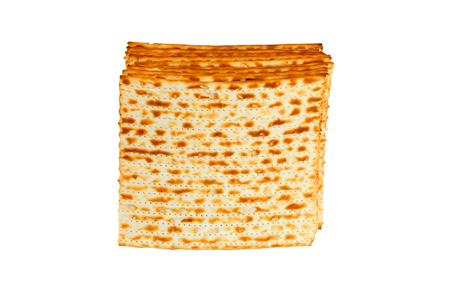 Matzo for pesach pile isolated on white background Stock Photo
