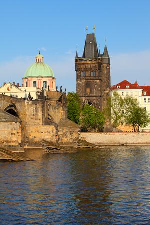 citytrip: Charles Bridge over Vltava river and Old town in Prague