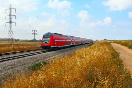 NETANYA, ISRAEL- MAY 05, 2017:Train on a rout Tel Aviv-Haifa. Editorial