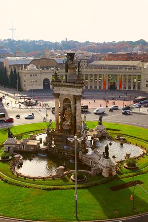 BARCELONA, SPAIN - december 12, 2015: View Placa De Espanya, Barcelona. Catalonia, Spain Editorial