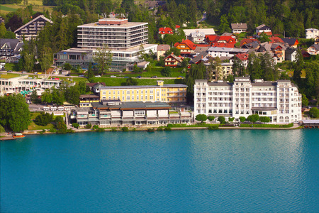 BLED, SLOVENIA - 22, 2014.: The town of Bled .The historic town of Bled as seen from the castle. Bled is an Alpine town alongside glacial Lake Bled in northwestern Slovenia