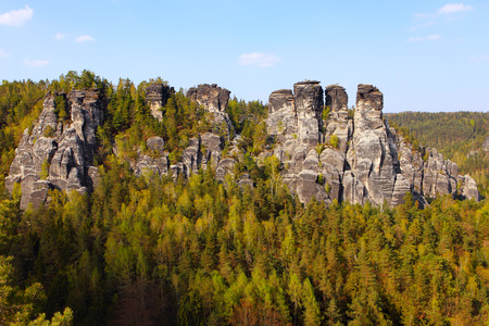 View of the rock formations at Bastei - Saxon Switzerland natural reserve near Dresden, Germany Stock Photo