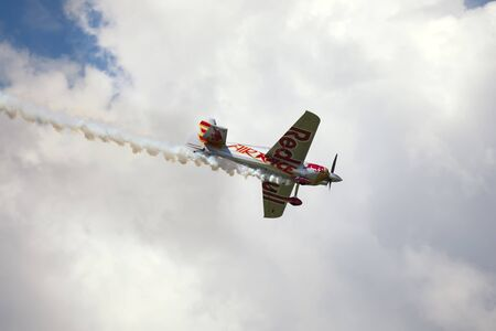 BUDAPEST, HUNGARY - JUNE 23, 2018: Light Sport Aircraft flies over the Danube river, during an open for the public air show at the city of Budapest.