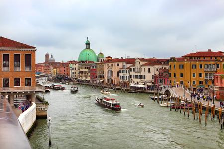VENICE,ITALY - APRIL 26, 2019: The Grand Canal and the Basilica di Santa Maria della Salute in Venice 報道画像