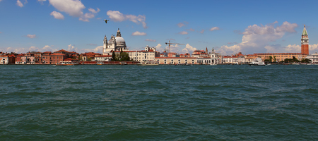 A view of Venice along the Grand Canal with Basilica Santa Maria Della Salute,view from the sea.