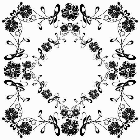 Flowers classic picture frame Vector