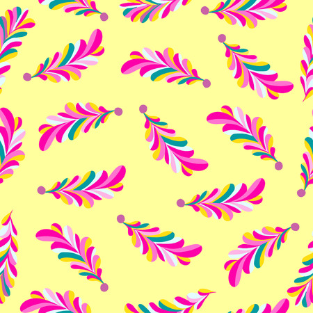 pink flower: pink flower petals abstract vector seamless pattern on a yellow background