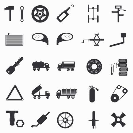 paraphernalia: automotive paraphernalia set of abstract symbols Vector illustration