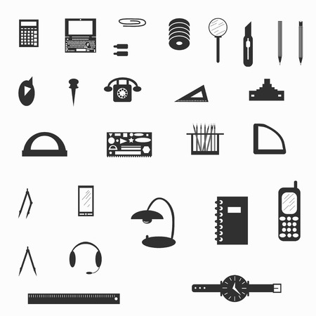 clerical: clerical paraphernalia symbols vector illustration
