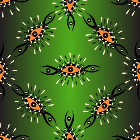 backlight: Abstract seamless vector pattern on a green background with backlight Illustration