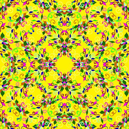 花びら: 黄色の背景にカラフルな花びら