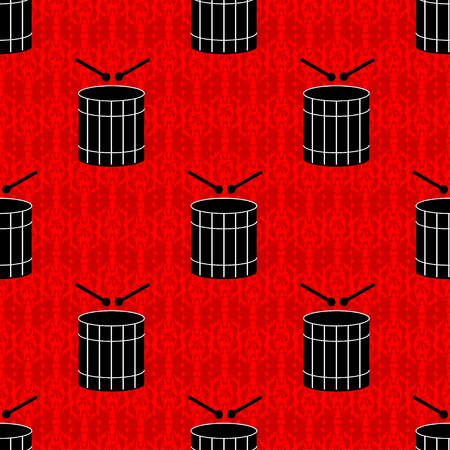 black drums on a red background seamless pattern Illustration