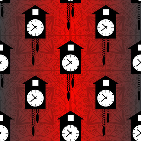 cuckoo clock: cuckoo clock on a red background seamless vector pattern
